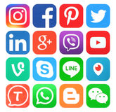 Kolekcja popularne ogólnospołeczne medialne ikony royalty ilustracja