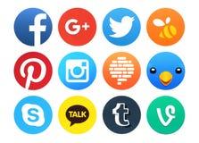 Kolekcja popularne round ogólnospołeczne networking ikony