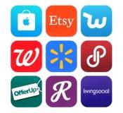 Kolekcja popularne zakupy ikony drukować na papierze Fotografia Royalty Free