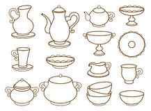 Kolekcja porcelany tableware dla herbaty Obraz Stock