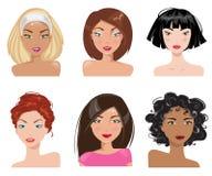 Kolekcja portrety kobiety również zwrócić corel ilustracji wektora Zdjęcia Royalty Free