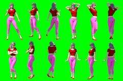 Kolekcja pozy młode żeńskie postacie zdjęcia stock