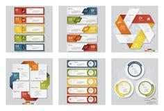 Kolekcja 6 projektów szablon, grafika lub strona internetowa układ/ Wektorowy tło Obrazy Stock