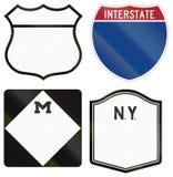 Kolekcja puste autostrady trasy osłony używać w USA royalty ilustracja