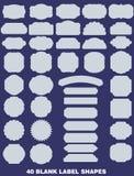 Kolekcja 40 pustych etykietek kształtów ilustracja wektor