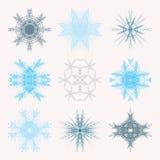 Kolekcja różni błękitni płatki śniegu odizolowywający na białym tle Zima Marznący Geometryczny symbol ilustracja wektor