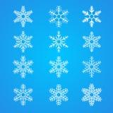 Kolekcja różni biali płatki śniegu ilustracja wektor