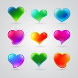 Kolekcja różni kolorów serca ilustracja wektor