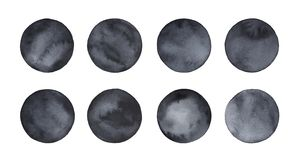 Kolekcja różni puści czarni wodnego koloru okręgi royalty ilustracja