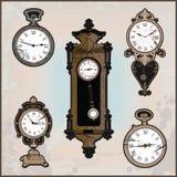 Kolekcja różni retro zegary ilustracja wektor