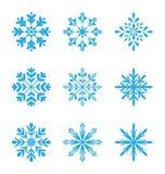 Kolekcja różnica płatki śniegu odizolowywający na białym tle royalty ilustracja