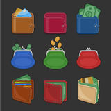 Kolekcja różnorodne kiesy i portfle z pieniądze otwarte i zamknięte, gotówka, złociste monety, kredytowe karty symbole ustalonymi Zdjęcia Stock