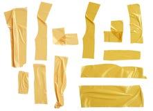 Kolekcja różnorodni adhezyjnej taśmy kawałki na białej background Zdjęcie Royalty Free