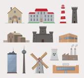 Kolekcja różnorodni budynki Zdjęcie Stock