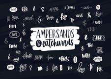 Kolekcja różnorodni ręcznie pisany ampersands, koniunkcje, prepozycje i artykuły, Plik elegancki ręki literowanie ilustracji