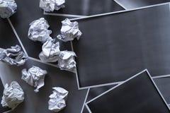 Kolekcja różnorodny zmięty papier na fotokopia papieru tle i teksturze obraz stock