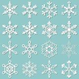 Kolekcja 16 różnych płatków śniegu Zdjęcia Royalty Free