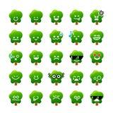 Kolekcja różnicy emoticon ikona Drzewna kreskówka na wh Zdjęcie Royalty Free