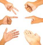 Kolekcja ręka palca symbolu biel odizolowywający Obraz Stock