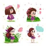 Kolekcja ręka rysujący portret śliczna mała dziewczynka z długie włosy pozycją Fotografia Royalty Free