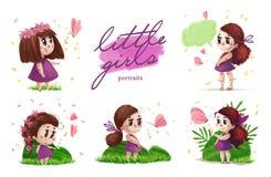 Kolekcja ręka rysujący portret śliczna mała dziewczynka z długie włosy pozycją na zielonej trawie Zdjęcie Royalty Free