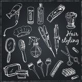 Kolekcja ręki rysujący narzędzia dla makijażu i fryzury Obraz Stock