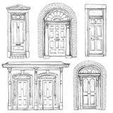 Kolekcja ręki rysujący roczników drzwi Obrazy Royalty Free