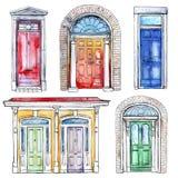 Kolekcja ręki rysujący roczników drzwi Zdjęcie Royalty Free