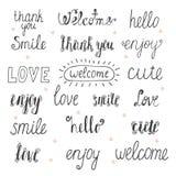 Kolekcja ręki rysujący słowa dla twój projekta Wita, dziękuje, y ilustracji