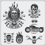 Kolekcja retro motocykl etykietki, emblematy, odznaki i projektów elementy, ilustracyjny lelui czerwieni stylu rocznik Zdjęcie Stock