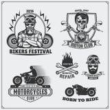 Kolekcja retro motocykl etykietki, emblematy, odznaki i projektów elementy, ilustracyjny lelui czerwieni stylu rocznik Obraz Royalty Free