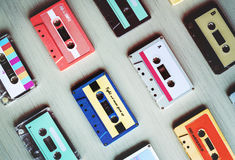 Kolekcja Retro Muzyczna Audio kasety taśma 80s Obrazy Stock