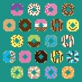 Kolekcja retro piksli donuts w wektorze Zdjęcie Royalty Free