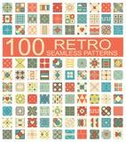 Kolekcja 100 retro różny wektorowy geometryczny bezszwowy patt Obrazy Stock