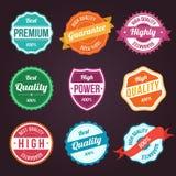 Kolekcja retro rocznika projekta kolorowe etykietki Zdjęcia Royalty Free
