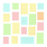 Kolekcja różnorodni nutowi papiery dla twój wiadomości Set diffe Zdjęcie Stock
