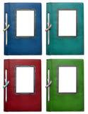 Kolekcja roczników kolorowi photoalbums dla fotografii odizolowywać fotografia stock