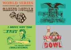 Kolekcja rocznik etykietka dla T Koszulowego druku royalty ilustracja