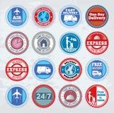 Kolekcja round doręczeniowe odznaki ilustracji