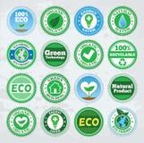 Kolekcja round eco odznaki royalty ilustracja