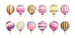 Kolekcja round gorące powietrze balony różnorodny wzór i kolor na białym tle odizolowywający Plik jaskrawy barwiony royalty ilustracja