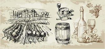 kolekcja rysujący ręki oryginału winnica Fotografia Royalty Free