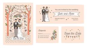 Kolekcja Save Daktylowa karta, ślubnej ceremonii zaproszenie i odpowiedź nutowi szablony z śliczną kreskówki panną młodą i ilustracji