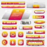 Kolekcja sieć guziki, elementy Ustawiający Wektorowi szablony, sztandary, etykietki, środki, faborek ikony dla strony internetowe royalty ilustracja
