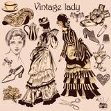 Kolekcja staromodna kobieta i akcesoria Zdjęcie Royalty Free