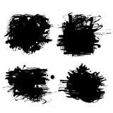 Kolekcja substraty i tła tworzący farbą, uderzenia, muśnięć uderzenia, plamy i kiści farba czarni, ilustracji