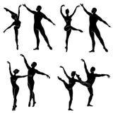 Kolekcja Sylwetka baletniczy aktor Kobieta i m??czyzna pi?kne nik?e postacie Dziewczyna ch?opak i balerina ilustracja wektor