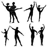 Kolekcja Sylwetka baletniczy aktor Kobieta i m??czyzna pi?kne nik?e postacie Dziewczyna ch?opak i balerina royalty ilustracja