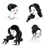 Kolekcja Sylwetka g?owa ?liczna dama Dziewczyna pokazuje jej fryzur? na d?ugim i ?rednim w?osy Stosowny dla logo, royalty ilustracja