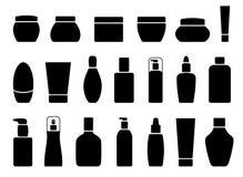 Kolekcja sylwetka kosmetyka tubki na bielu Obrazy Stock